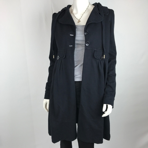 Juicy Couture Jackets & Blazers - Juicy Couture Black Coat with Hood and Collar